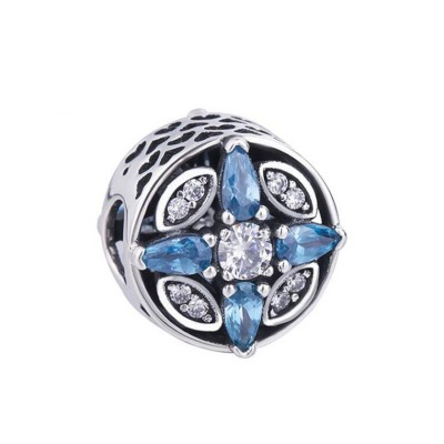 Heart with Pear Cut Blue Stone Charm Sterling Silver