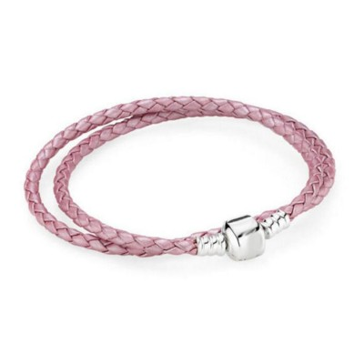Double Circle Pink Woven Leather Charm Bracelet