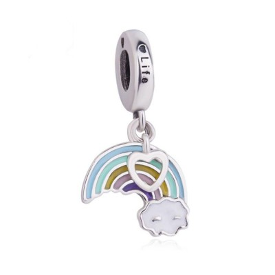 Rainbow & Cloud Charm Sterling Silver