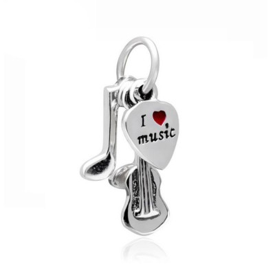I Love Music Charm Sterling Silver