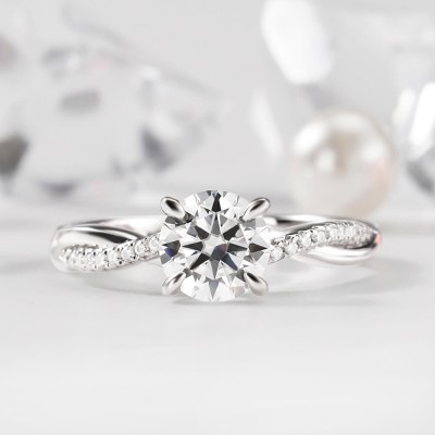 1.2 ct Round Cut Moissanite Sterling Silver Twisted Engagement Ring