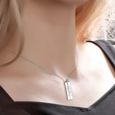 Vertical Engravable Double Silver Bar Necklace