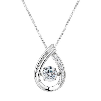 Round Cut White Sapphire Teardrop Pendant Sterling Silver Necklace