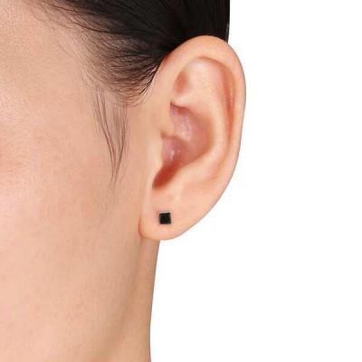 Princess Cut Black Sapphire Sterling Silver Stud Earrings