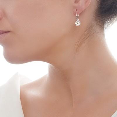 Lovely Daisy Sterling Silver Hoop Earrings