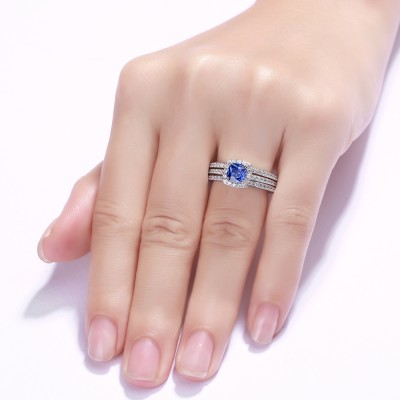 Cushion Cut 925 Sterling Silver Sapphire 3 Piece Halo Ring Sets