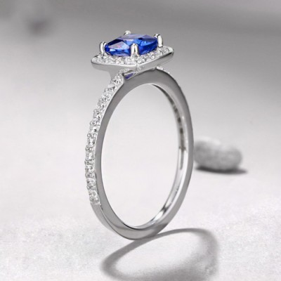 Princess Cut 925 Sterling Silver Sapphire Halo Engagement Rings