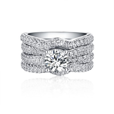 Round Cut 925 Sterling Silver White Sapphire 3 Piece Ring Sets