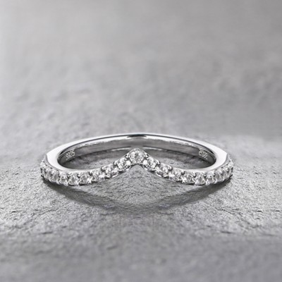 Round Cut White Sapphire Sterling Silver Accent Curved Women's Wedding Band