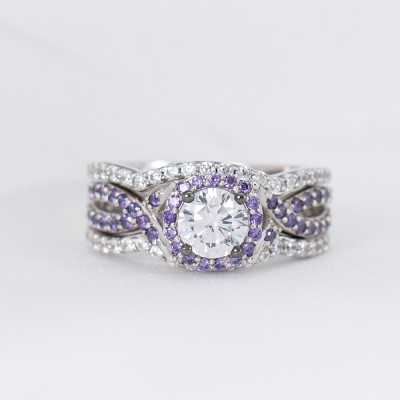 Round Cut White Sapphire 925 Sterling Silver Amethyst Twisted Halo 3-Piece Bridal Sets