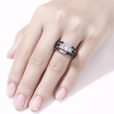 Cushion Cut Black & White Sapphire S925 Silver 3-Stone 3 Piece Ring Sets
