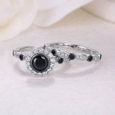 Classic Round Cut Black Sapphire 925 Sterling Silver  2 Pieces Halo Bridal Sets