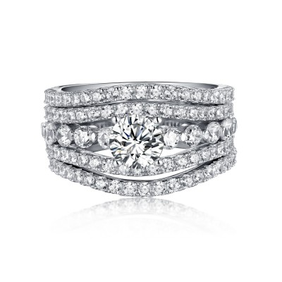 Round Cut White Sapphire 925 Sterling Silver 3 Piece Ring Sets