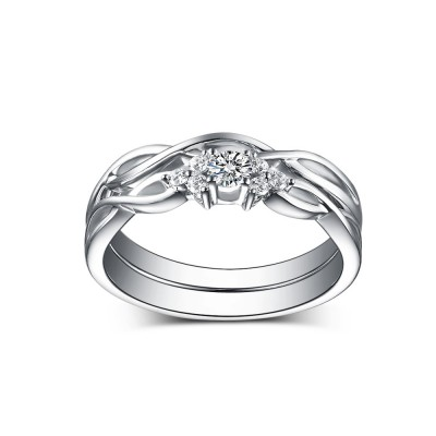 Lovely Round Cut White Sapphire 925 Sterling Silver Wedding Sets