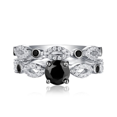 Round Cut Black & White Sapphire 925 Sterling Silver Ring Sets