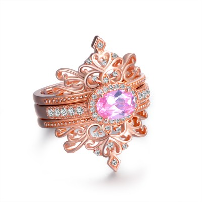 Crown Oval Cut Pink Sapphire Rose Gold 925 Sterling Silver Bridal Sets