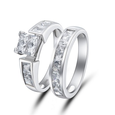 Princess Cut 925 Sterling Silver White Sapphire Bridal Sets