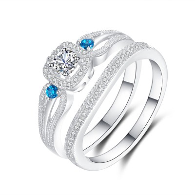 Aquamarine and White Sapphire 925 Sterling Silver Bridal Sets