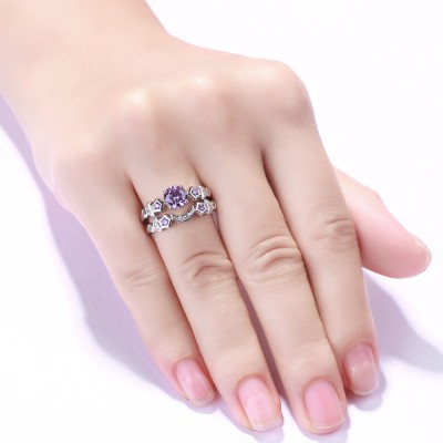 Moon and Star Amethyst Sapphire 925 Sterling Silver Bridal Sets
