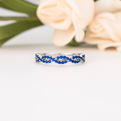 Round Cut Blue Sapphire Sterling Silver Twisted Women's Wedding Band