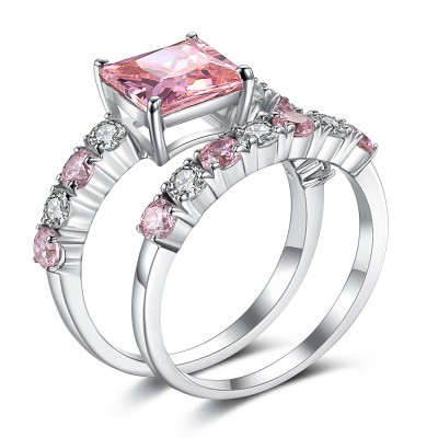 Radiant Cut Pink Sapphire 925 Sterling Silver Bridal Sets