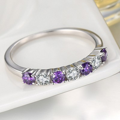 Round Cut White and Amethyst Sapphire Sterling Silver Promise Rings