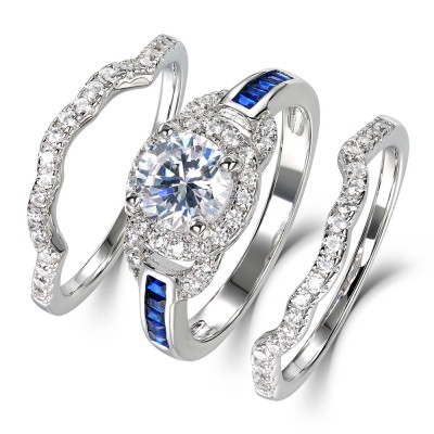 Round Cut White Sapphire 925 Sterling Silver Women's Wedding Ring Set