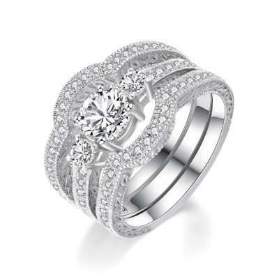 Classic Round Cut White Sapphire 925 Sterling Silver Women's Wedding Ring Set