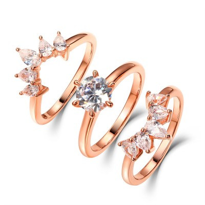 Round & Pear Cut White Sapphire Rose Gold 925 Sterling Silver 3 Piece Bridal Sets