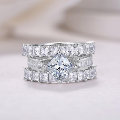Princess Cut White Sapphire Sterling Silver 3 Pieces Bridal Sets