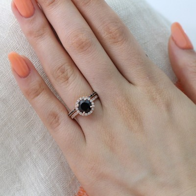 Rose Gold Round Cut Black Sapphire Sterling Silver Halo Wedding Ring Sets for Women