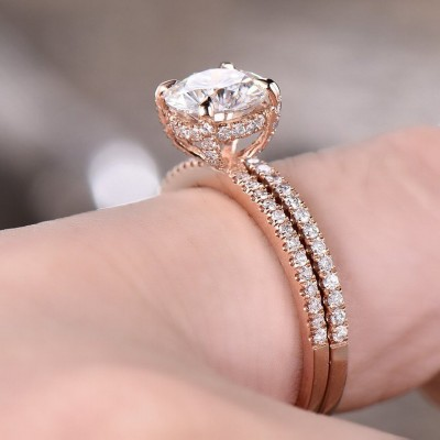 Rose Gold Round Cut White Sapphire 925 Sterling Silver Bridal Sets