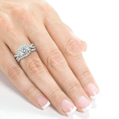 Round Cut White Sapphire 925 Sterling Silver Twisted Halo Bridal Sets