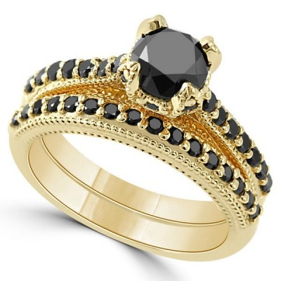 Vintage Gold Round Cut Black Sapphire 925 Sterling Silver Bridal Sets