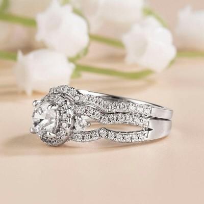 Round Cut White Sapphire Sterling Silver Three-Stone Halo Bridal Sets