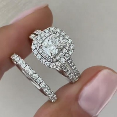 Cushion Cut White Sapphire Sterling Silver Double Halo Bridal Sets