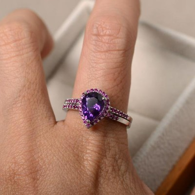 Pear Cut Amethyst Sterling Silver Halo Bridal Ring Sets