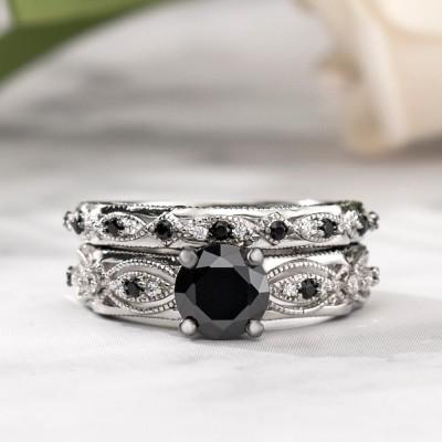 Vintage Round Cut Black Sapphire Sterling Silver Bridal Ring Sets