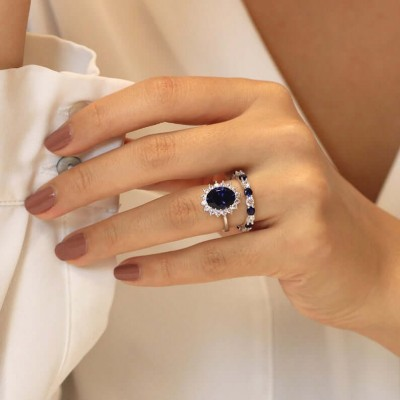 Art Deco Oval Cut Blue Sapphire 925 Sterling Silver Halo Bridal Sets
