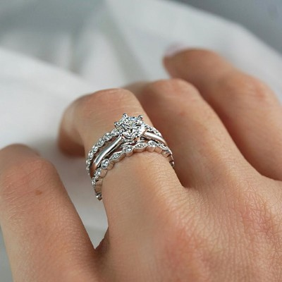 Classic Round Cut White Sapphire 925 Sterling Silver 3-Pieces Wedding Bridal Ring Sets