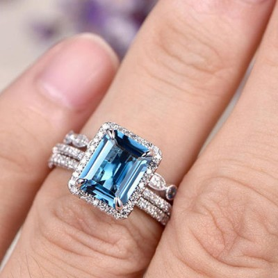 Emerald Cut Aquamarine Blue Sterling Silver 3-Piece Halo Bridal Sets