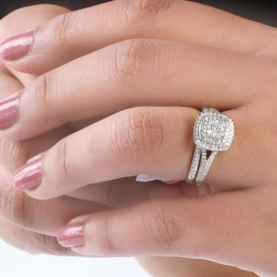 Round Cut White Sapphire 925 Sterling Silver 2 Pieces Halo Bridal Sets