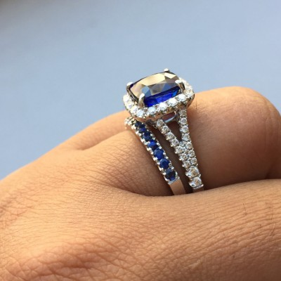 Cushion Cut Blue Sapphire 925 Sterling Silver Halo Bridal Sets