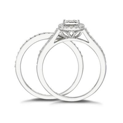 Princess Cut White Sapphire 925 Sterling Silver Halo 2 Pieces Bridal Sets