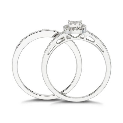 Round Cut White Sapphire 925 Sterling Silver Halo Cluster 2 Pieces Bridal Sets