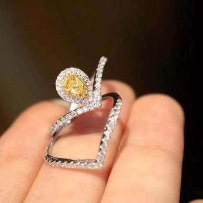 Pear Cut Yellow Topaz Sterling Silver Curved Halo Bridal Ring Sets