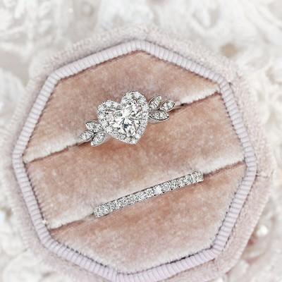 Unique Heart Cut White Sapphire 925 Sterling Silver 2 Pieces Halo Bridal Sets