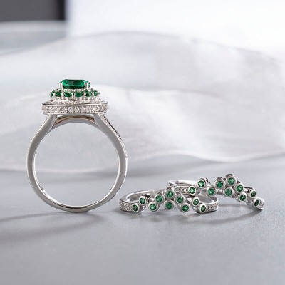 Art Deco Round Cut Emerald Coral Cluster 925 Sterling Silver Halo 3-Piece Ring Sets