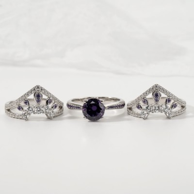 Vintage Art Deco Round Cut Amethyst 925 Sterling Silver 3 Pieces Crown Bridal Sets