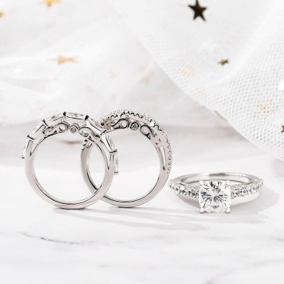 Cushion Cut White Sapphire Sterling Silver 3-Piece Stackable Wedding Ring Sets
